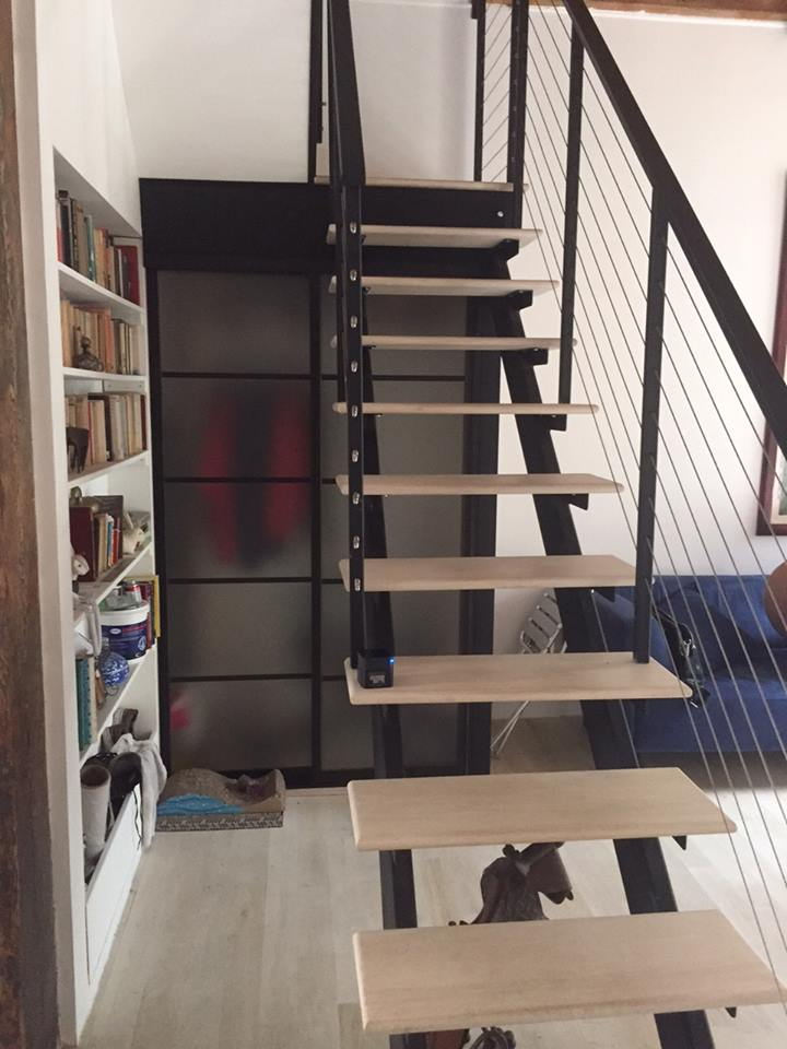 custom metal double stringer staircase with wood treads