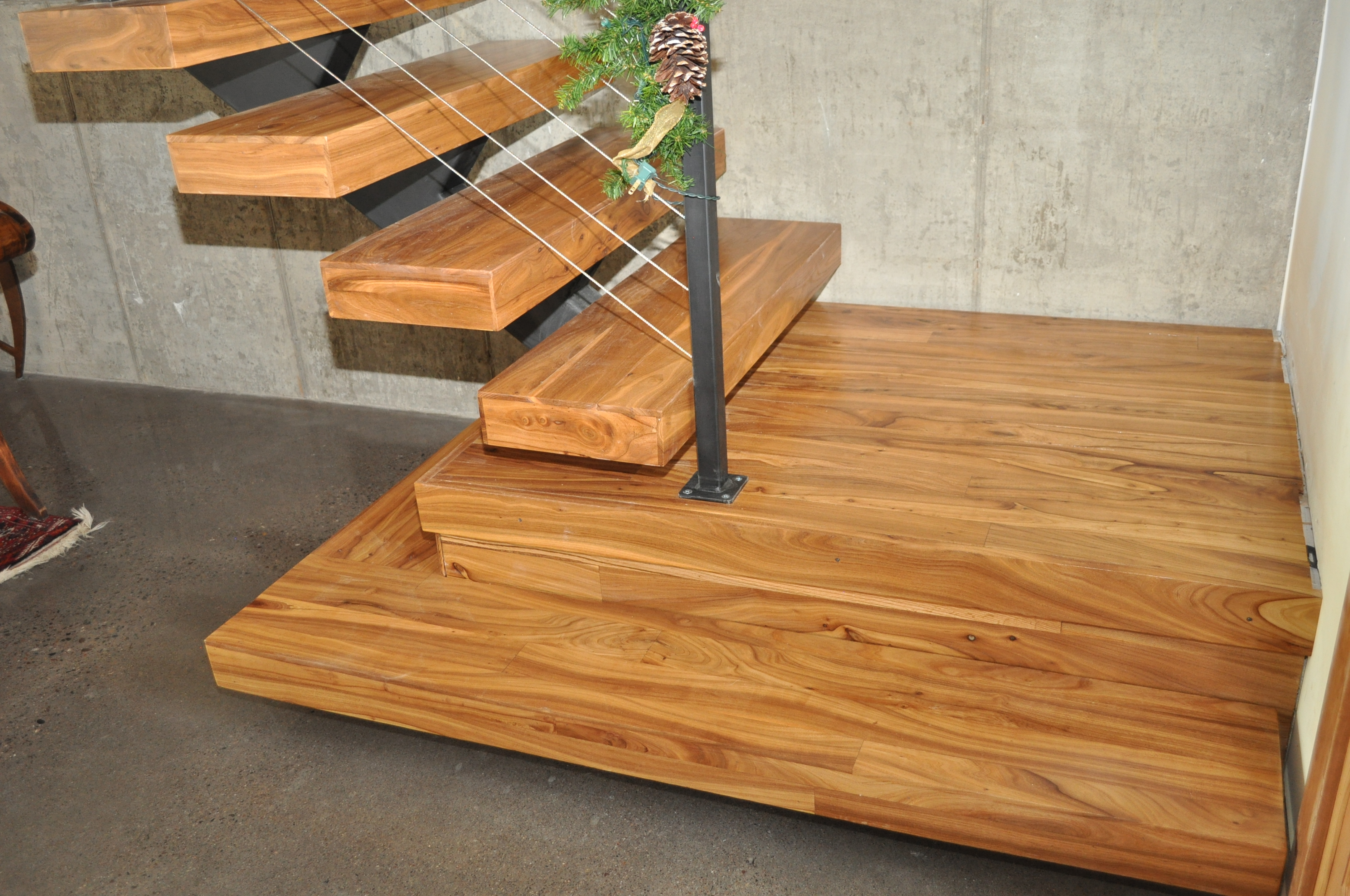 Chinese Elm floating single-stringer staircase