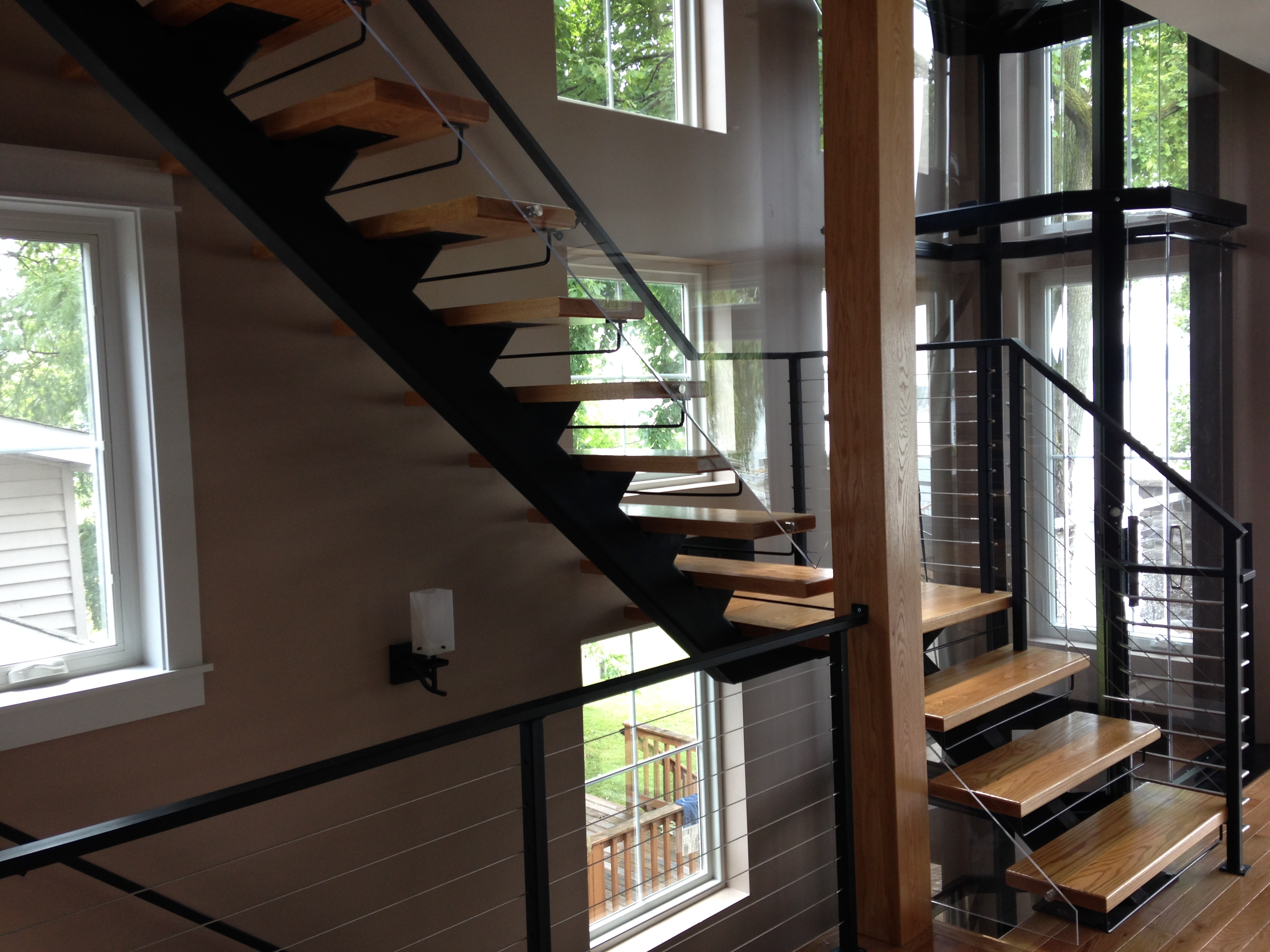 single stringer metal straight staircase wood treads