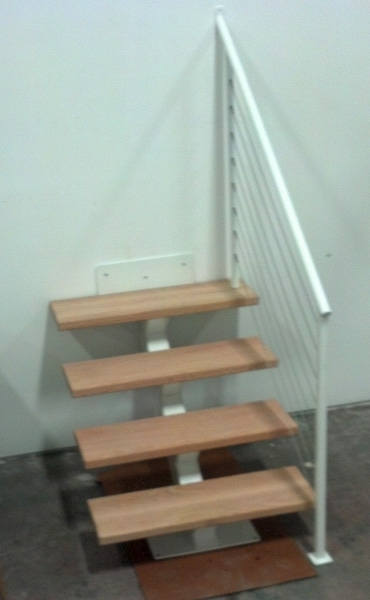 white metal single stringer stairs