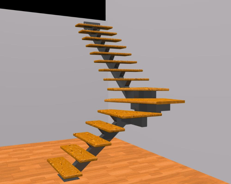 Single Stringer Winder Stairs