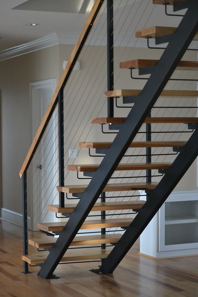 Metal floating stairs straight stair photo gallery for Staircases types