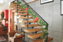 Chinese Elm floating single-stringer stairs