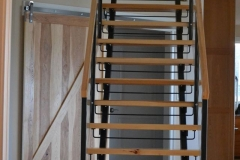 metal double stringer staircase with wood treads