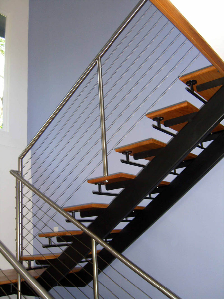 double stringer staircase with cable railing