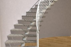White Curved Single Stringer Staircase - CS03