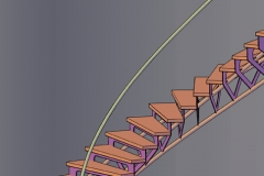 Curved Tri-Frame Stairs with Riser Plate - CS13
