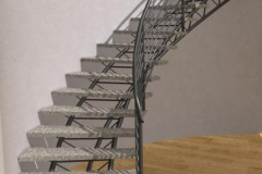 Curved Tri-Frame Stone Staircase