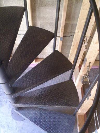 black primer on industrial staircase