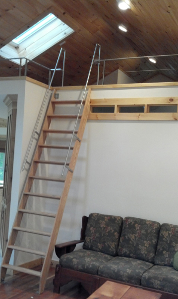 Stainless Steel Rail on Oak Ladder