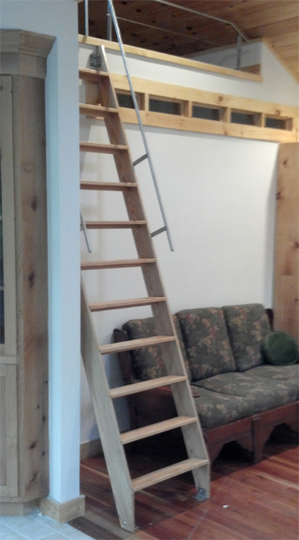 Oak Ladder with Stainless Steel Rail