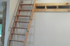 Stainless Steel Rail on Oak Ladder
