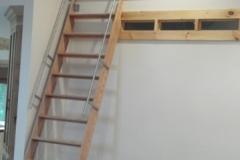Stainless Steel Rail on Oak Ladder - SL08