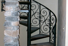 spiral staircase scroll iron railing
