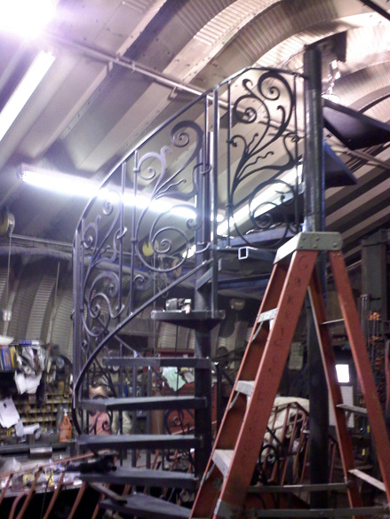 spiral staircase wrought iron railing