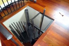 spiral staircase during installation