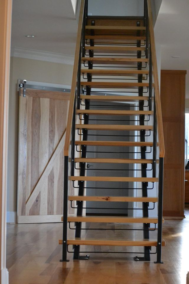 Double Stringer Steel Staircases With Wood Treads In Nyc