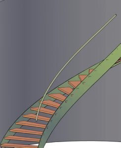 Rendering of a Curved Stringer Stair