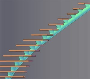 Curved Single Stringer Staircase Render