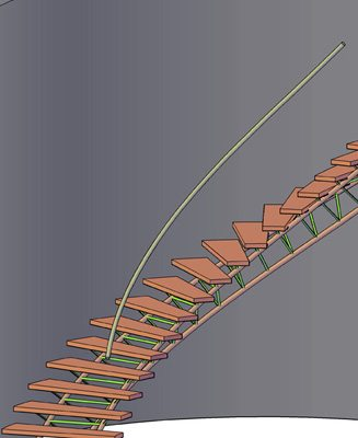 Curved Tri-Frame Staircase Render