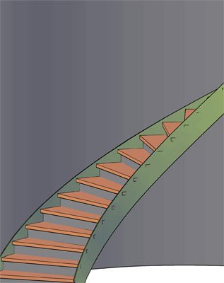Curved Steel Staircase Rendering