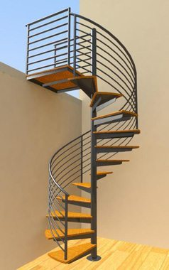 8 Line Rail Stair Render