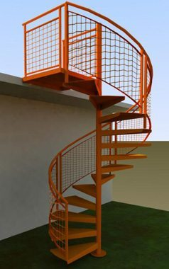 Exterior Spiral Stairs with Mesh-Style Rail