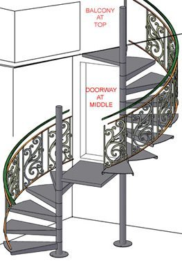 3D Rendering of Decorative Spiral Stairs