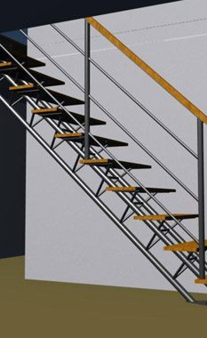 Wood and Metal Straight Single Stringer Staircase Render
