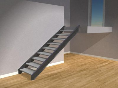 Metal Straight Single Stringer Staircase Render