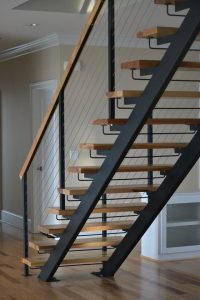 straight open-riser staircase