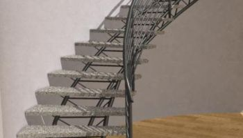 curved metal stairs